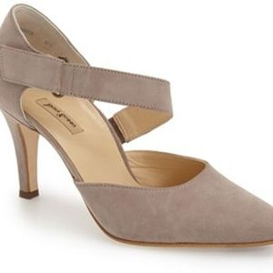 Paul Green 7.5 Taupe Gray Pointy Toe D'orsay Shoes